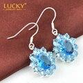 HOT SALE Blue Synthetic Topaz drop earrings Fashion Silver Plated Dangle Earrings for women E0430