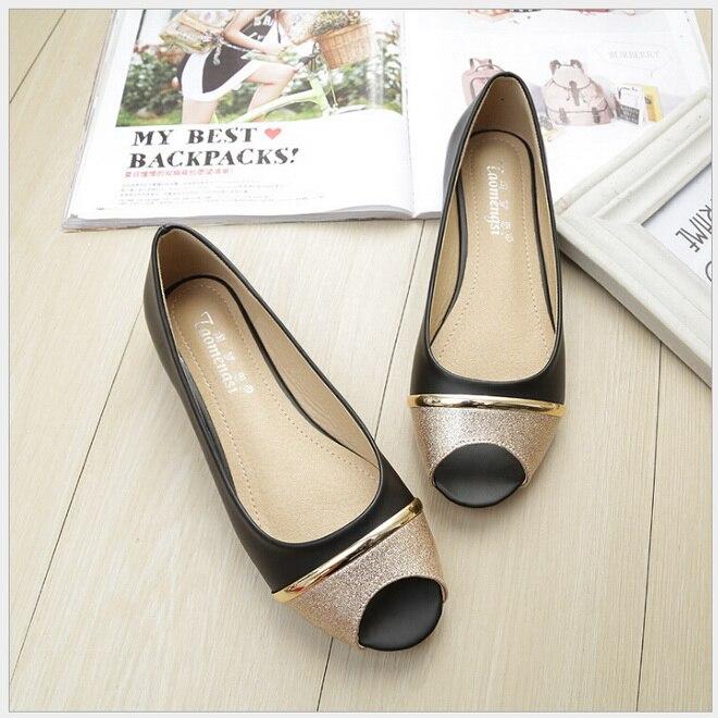 Women/'s Flat Peep Toe Shoes Ladies