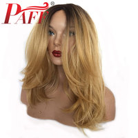 PAFF Blonde 13x6 Lace Front Human Hair Wig With Dark Roots 1b/27 Glueless Brazilian Remy Hair Ombre Human Hair Wigs Natural Wave