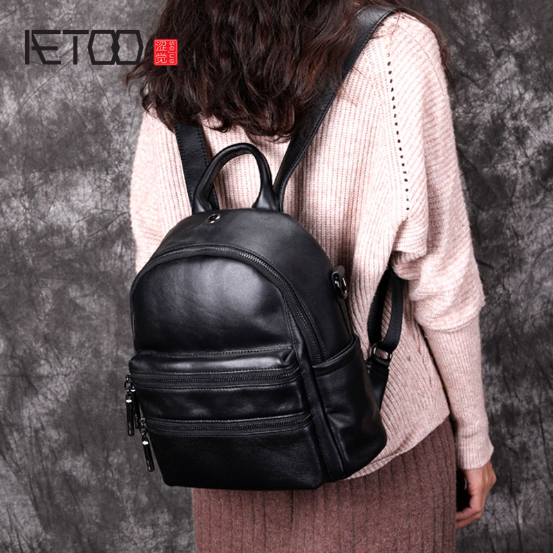 AETOO Backpack new original design leather handmade personality multi-zipper layer cowhide backpack shoulder bag aetoo spring and summer new leather handmade handmade first layer of planted tanned leather retro bag backpack bag