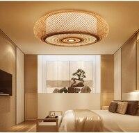 Ручной бамбука плетеная круглый ротанговый Фонари затемненный потолочный светильник деревенский Азиатский японский Plafon лампа Спальня Гос