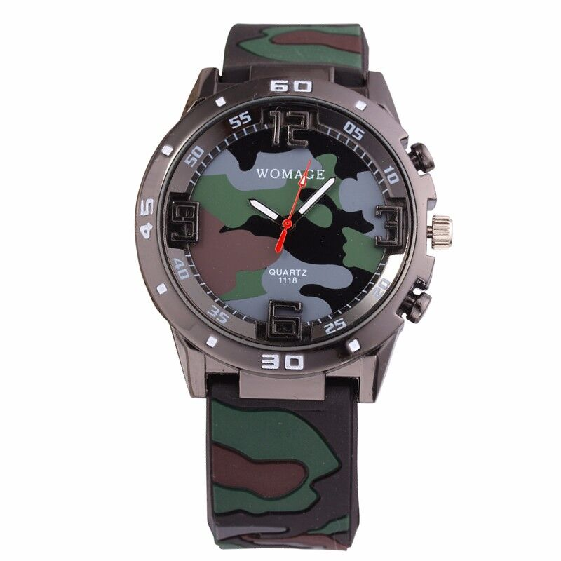 Brand Men Clock Relogio Camouflage Military Watch Soft Silicone Boy Children Quartz Watches Sports Leisure Army Kids Wristwatch