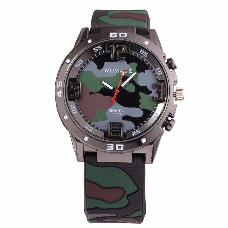 Brand Men Clock Relogio Camouflage Military Watch Soft Silicone Boy Children Quartz Watches Sports Leisure Army Kids Wristwatch