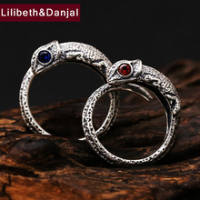 hot deal buy hongclub 2017 925 sterling silver ring men jewelry cute lizard gemstone natural stone ring opening women gift fine jewelry r6