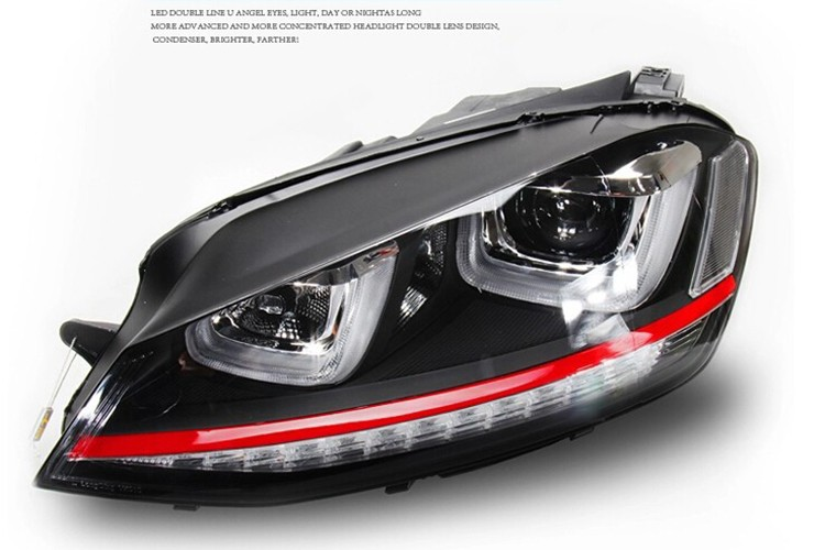 HIDLED AUTO Double U LED Angel Eyes Bi-xenon Headlights For Golf 7 GTI LIGHTS