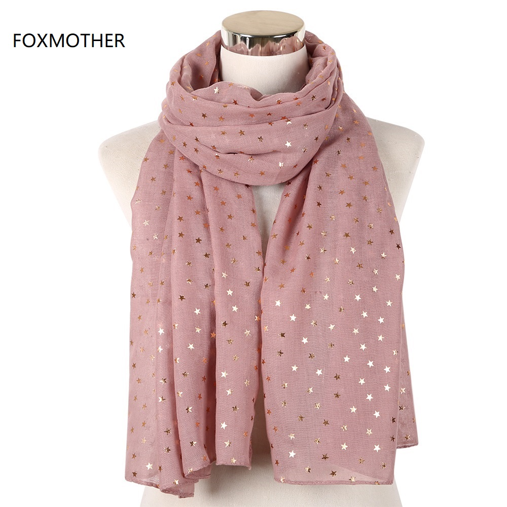 FOXMOTHER New Fashion Female Pink Navy Foil Gold Star   Scarf   Glitter   Scarves   Foulard Ladies   Wrap   Shawl