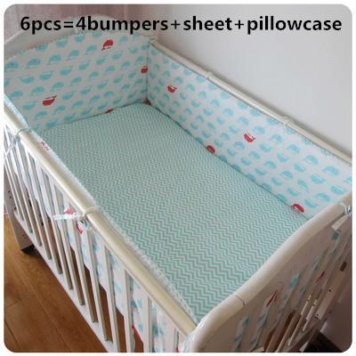 ¡ Promoción! 6 UNIDS Cuna ropa de cama bebé ropa de cama de parachoques en la cuna de bebé juego de cama de los niños, (bumpers + hoja + funda de almohada)