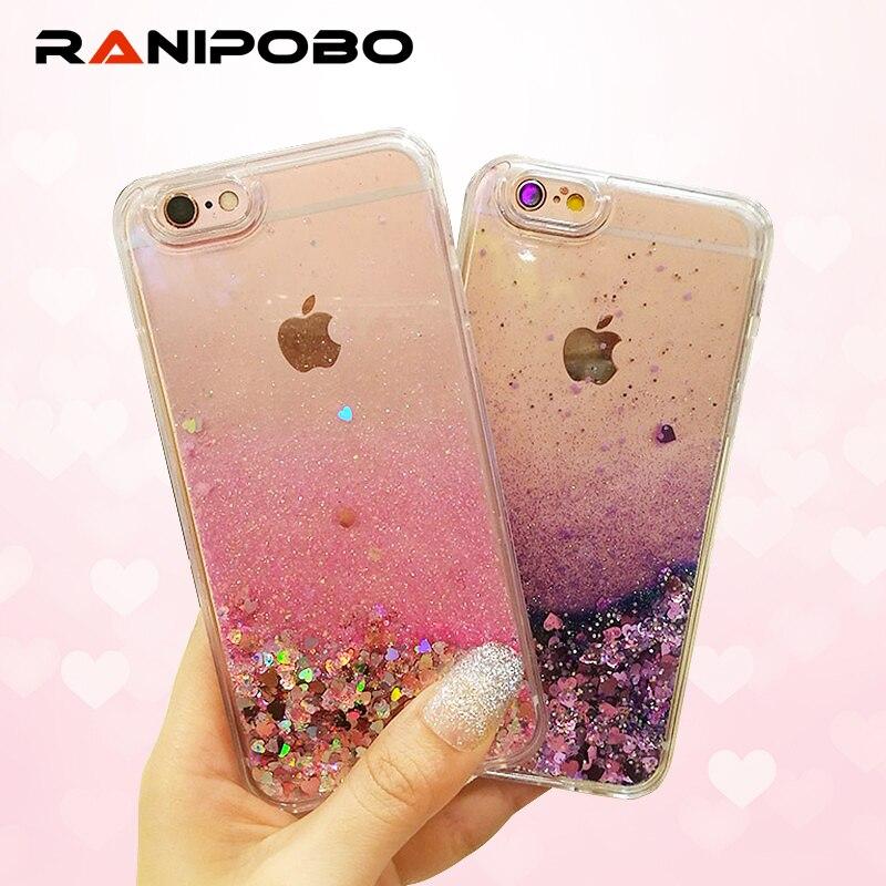Galleria fotografica Phone Case for iPhone 7 Case 5 5s SE 6s Plus 8 Plus Love Heart Glitter Dynamic Liquid Quicksand Soft Silicon