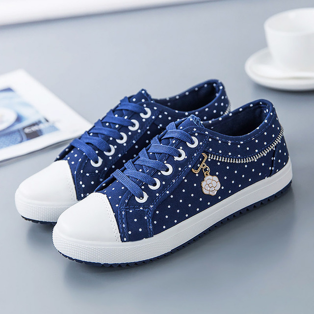Canvas shoes woman 2018 new breathable Plus Size ladies shoes tenis feminino  polka dot female sneakers women shoes ddd8b3b80dcc
