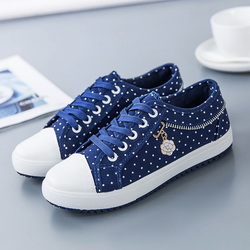 Toile chaussures femme 2018 nouveau respirant grande taille dames chaussures tenis feminino polka dot femme baskets femmes chaussuresToile chaussures femme 2018 nouveau respirant grande taille dames chaussures tenis feminino polka dot femme baskets femmes chaussures