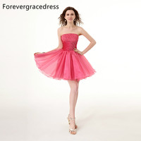 Forevergracedress 2018 Short Cocktail Dress Sexy Strapless Sleeveless With Lace Up Back Party Gown Plus Size Custom Made