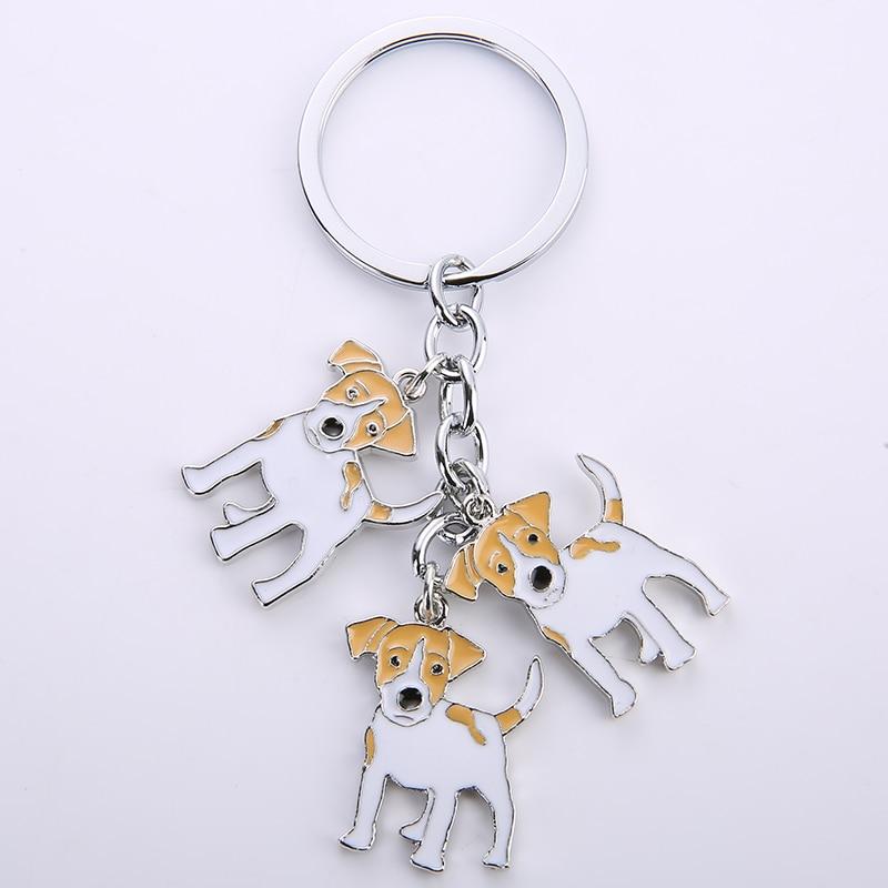купить Jack Russell Terrier pendant keychain key rings for men women white gold color metal alloy pet dog bag charm car key chain 2017 по цене 169.99 рублей