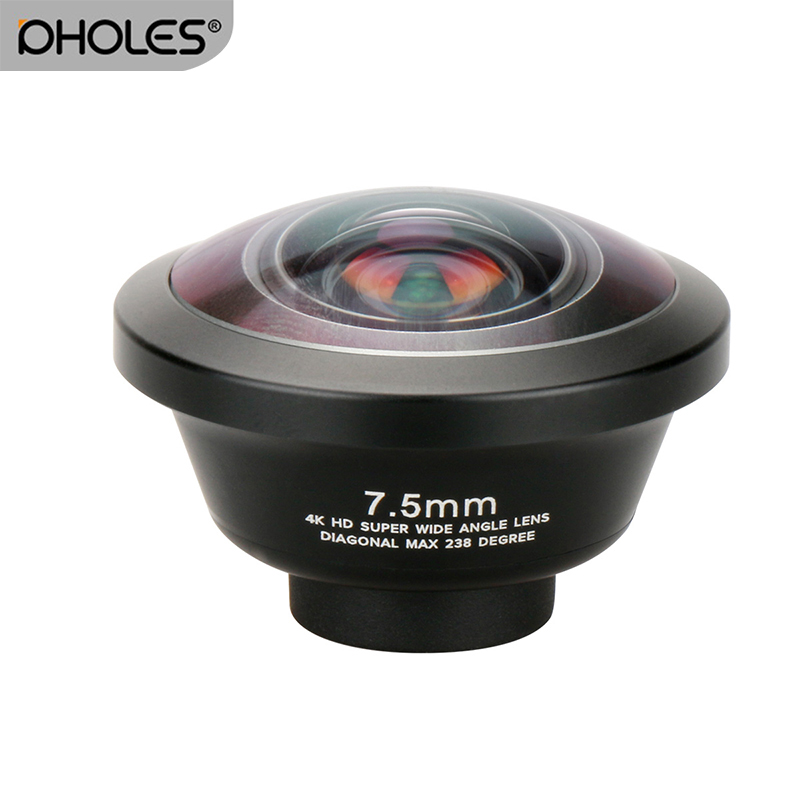 Pholes 238 Degree Fisheye HD Lens 0.2X Wide Angle Lens for iPhone X 7 6 Samsung Huawei Xiaomi 4K HD Clip On Camera Phone Lens