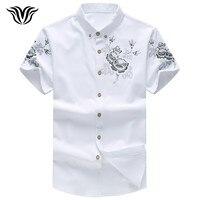 VORELOCE marque chemise noir blanc rouge bleu 2017 d'été style Chinois style bouton col hommes casual chemise à manches courtes hommes