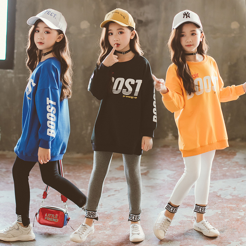 Children's Clothes Sets New Fashion Letter Printed Long Sleeve T-Shirt + Eyelash Pants Set Two-piece Girls Clothing Sets CA176 contrast eyelash lace t shirt