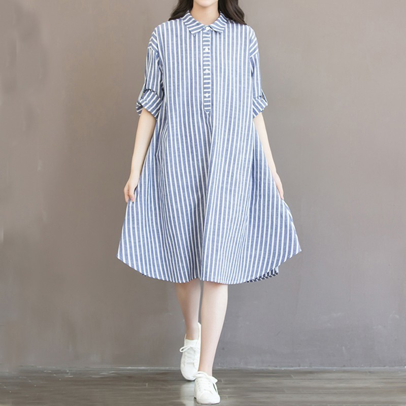 New Fashion Maternity T-shirt Dress Cotton Linen Pregnant Clothes Dress Tops Long Sleeves Stripes Pregnancy Women Clothing