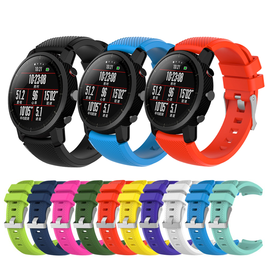 Soft Silicagel Sports Watch Band Strap For Xiaomi Amazfit Stratos 2/2S Watch Bracelet For Amazfit Pace Strap Accessories 22mm