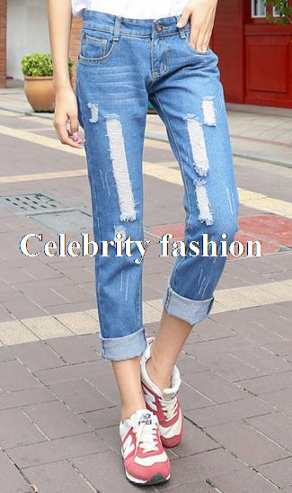 e608dbcc226 2014 Hot Sale Celebrity Women Loose Fit Rolled Up Ripped Boyfriend Jeans  Demin Washed Pant Trouser Plug Size 26-32 Free Shipping