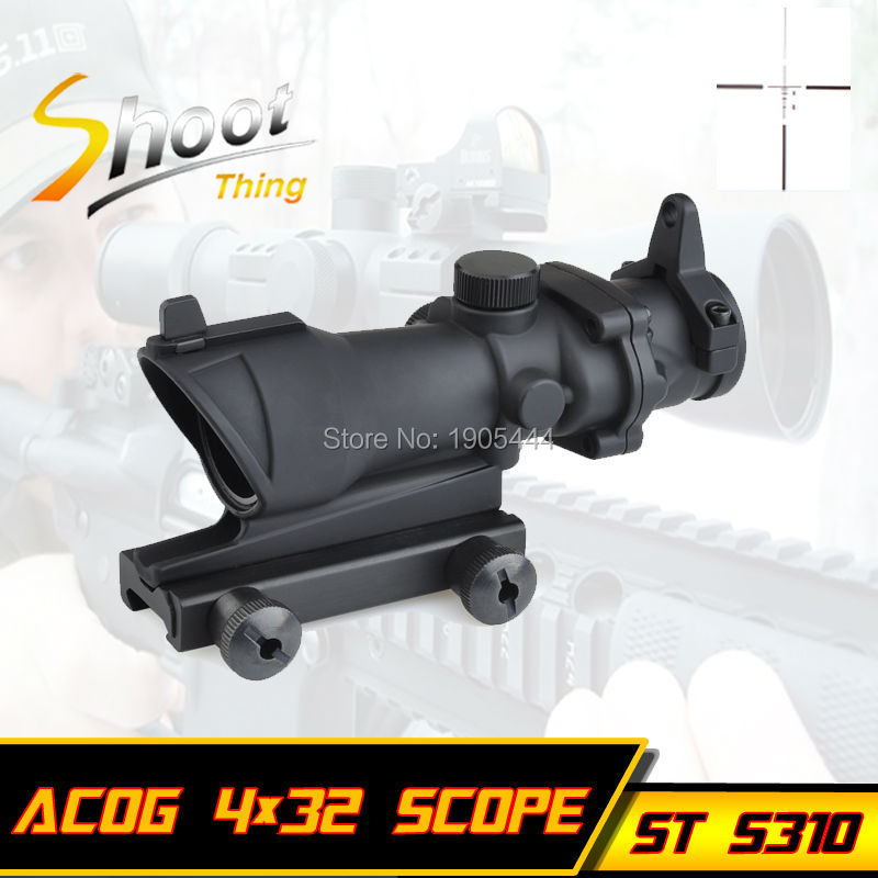 ST 5310 Shoot Thing Red Dot Iron Sight ACOG 4x32 Optical Rifle Scope Red / Green Reticle With Mount 1 set Free Shipping aim o hunting reddot acog 4x32 optical rifle telescope red green reticle with mount 1 set ao5318