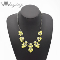 Boho Fashion Handmade Plastic Flower Beaded Choker Statement Necklace Acrylic Chunky Bib Pendant Jewelry For Girl