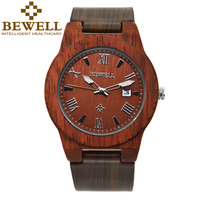 BEWELL Top Luxuey Brand Man S Watch Natural Sandwood Case Watch And Leather Band Soprt Quartz