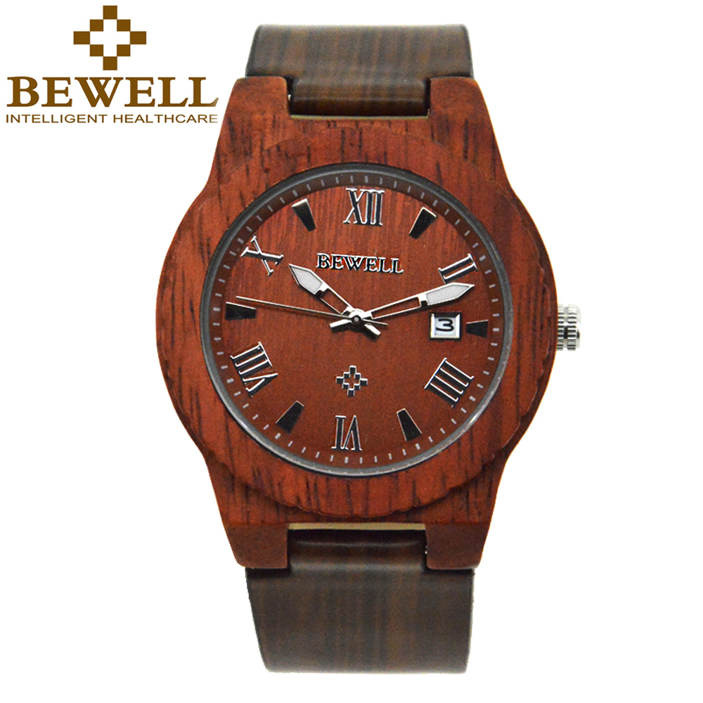 BEWELL Top Luxury Brand for Mans Watches Natural Sandalwood Case and Leather Watch Band Quartz Wristwatch with Box 109C