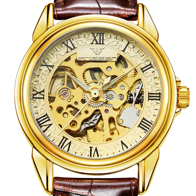 High Quality Mechanical Watches Mens Luxury Brand Roman Number Skeleton Leather Watch Automatic Wristwatch Tourbillon Hodinky winner brand mens skeleton automatic mechanical watch leather strap t winner roman number wristwatch gift box relogio releges