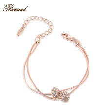 Ramad Brand Round Cubic Zirconia Rose Gold Color Two Beads Bracelet Jewelry Austrian Crystal Top Quality