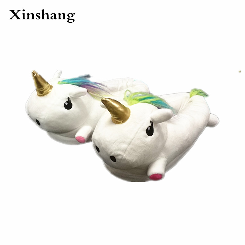 Woman Plush Unisex Unicorn Slippers Chausson Licorne Indoor at Home Infoor Indoor Slippers Fluffy Men Shoes For House Bedroom plush unicorn slippers adult women 2017 girls unisex home indoor chausson licorne shoes bedroom fluffty warm winter soft grown