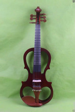 one 6 string fret 4/4 Electric Violin Solid wood 20--28# brown color