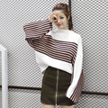 Thick Striped Patchwork Casual Knitted Sweater Female Batwing Sleeve Winter Sweaters Women Pullovers Oversized Sweater Plus Size
