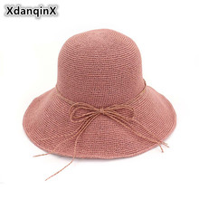XdanqinX Summer Womens Straw Hat Foldable Bow Sun Hats For Women Fine Hand Crochet Sunscreen Youth Female Brand Beach