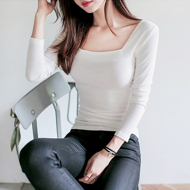 31b5440983 Basic T Shirt Women Long Sleeve Tops 2018 Spring Autumn Tee Shirt Korean  Style T-Shirt Cotton New Plus Size All-Match Casual T