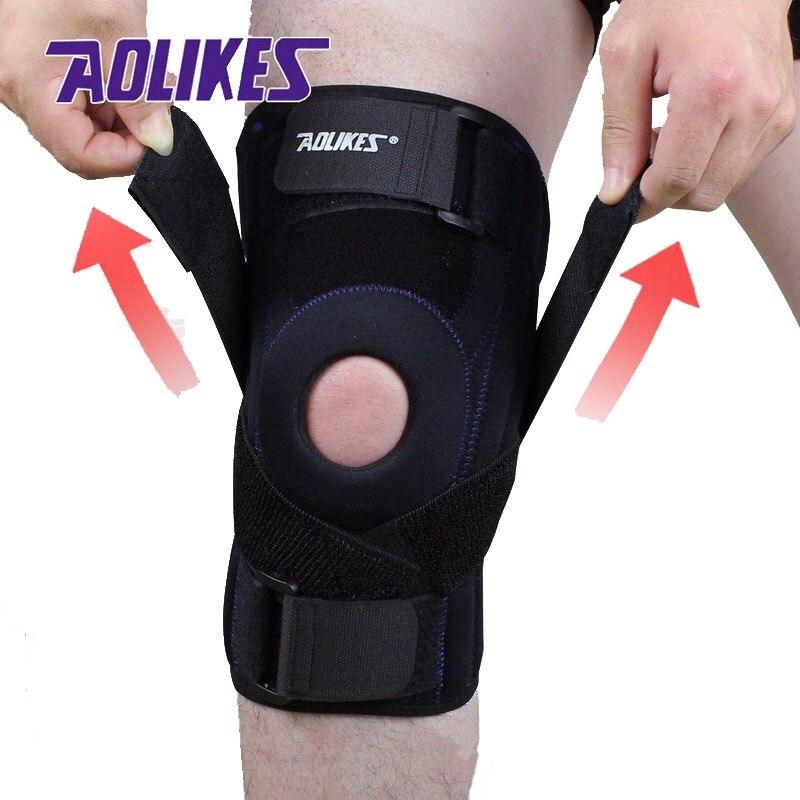 Prix pour AOLIKES 1 pièce Professionnel genou pad Ménisque blessure protetor de joelho soutien Sports De Sécurité genouillère rodilleras tactique brace