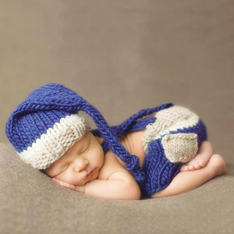 Newborn Photography Props Accessories Cartoon Hat Cap + Doll Sets Mermaid Infant Soft Bonnet Handmade Knitted Beanie baby Toy