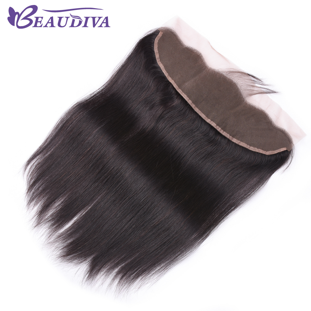 2020 Peruvian Straight Human Hair Lace Frontal Closure 13x4 With Baby Hair Free Part Swiss Lace Natural Color Free Shipping