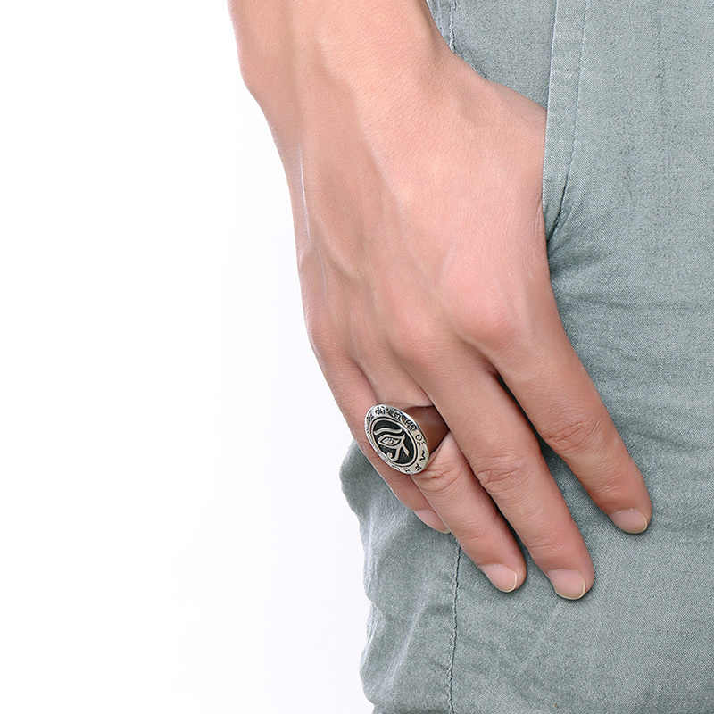 Vnox 25 мм Винтаж HORUS глаз кольцо для Для мужчин высокое качество Нержавеющая сталь панк-рок Мужской Серебряные украшения Цвет Размеры 8- 12