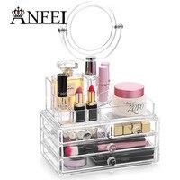 ANFEI 4 Lade Acryl Make Organizer Groothandel Acryl Up Organizer Met Lades En Spiegel Cosmetica Display Stand Box