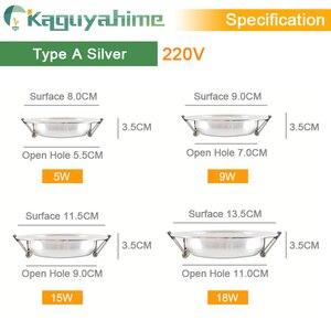 Image 3 - Kaguyahime LED Downlight 220V 240V LED Tavan Lambası 18W 15W 12W 9W 5W 3W Altın/Gümüş/Beyaz Yuvarlak Gömme Işık LED Spot