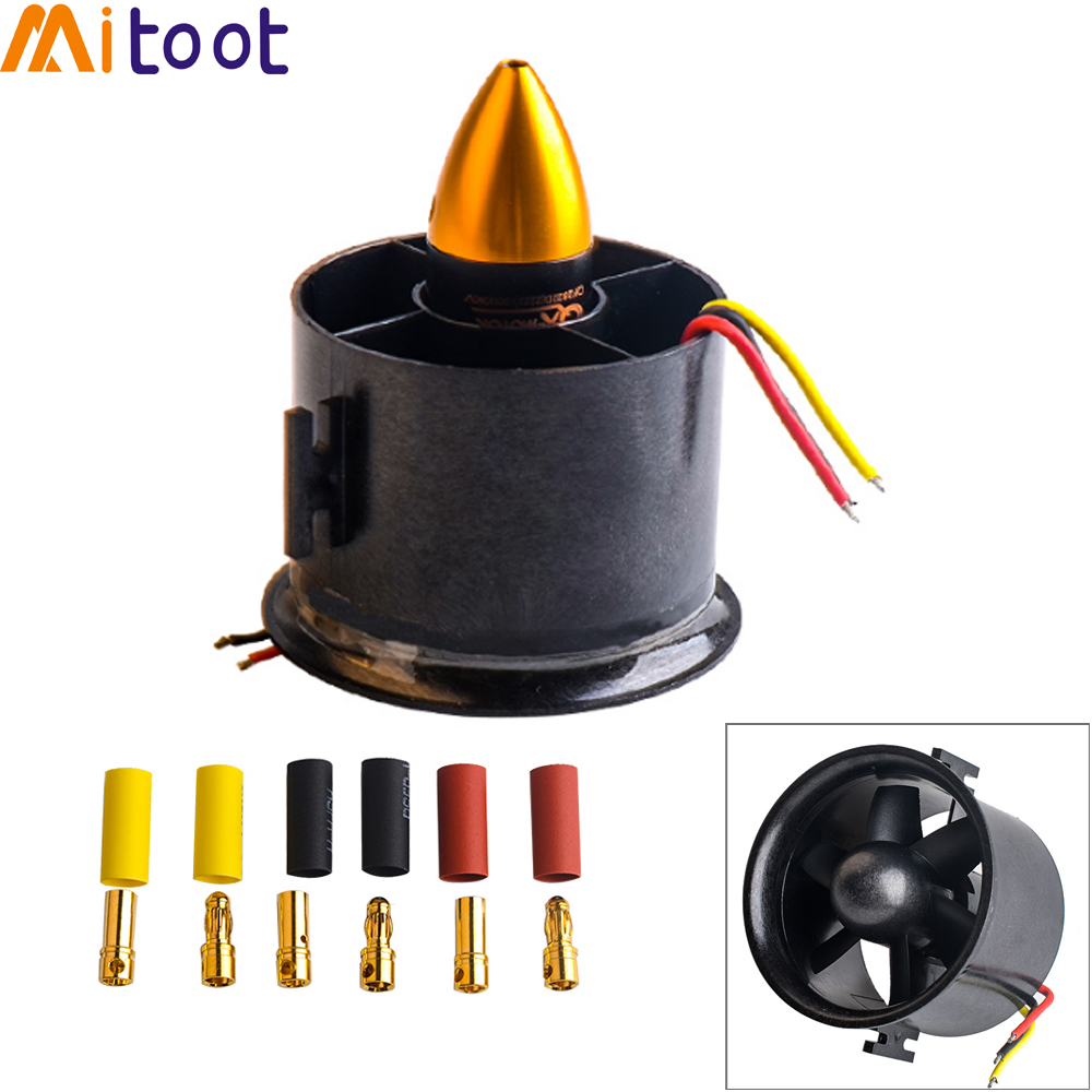 цена на QX-MOTOR 70mm 6 Blades Ducted Fan EDF With 2839 3200KV Motor Brushless For RC Airplane Model Parts