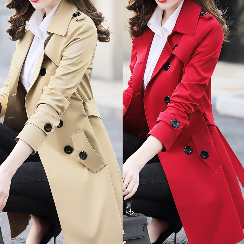 2018 New Autumn British Style Women's   Trench   Coat Fashion Slim Solid Double Breasted Ties Long Windbreaker Female Coats XS-6XL