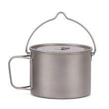 Titanium Cup mug 900ml ultra light outdoor tableware travel coffee tea camping pot water cup cooking pot with lid handle hook up цена