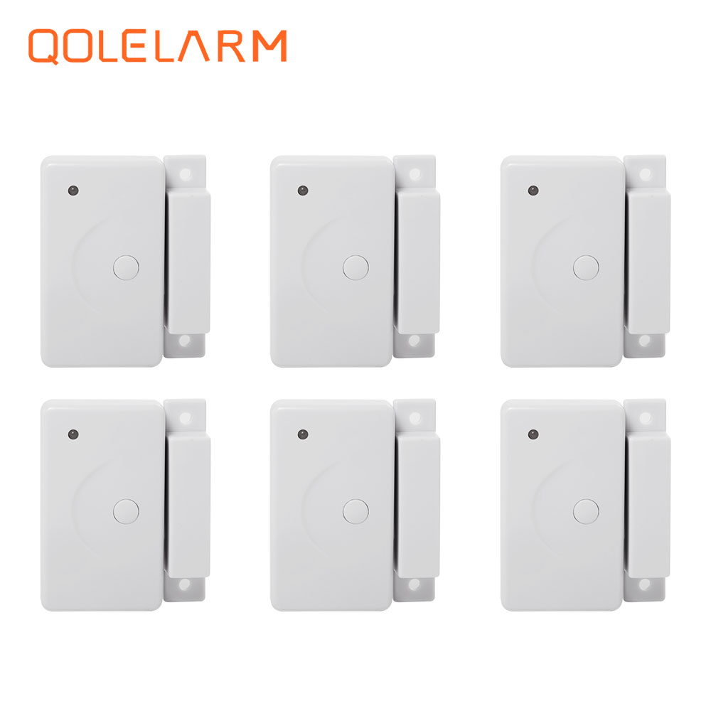 QOLELARM new 6 pieces automatic 433mhz Wireless magnetic door window sensor without antenna for GSM WIFI GPRS home alarm system leveling sensor yg 128 lehy hope optoelectronics magnetic sensors sleeve new