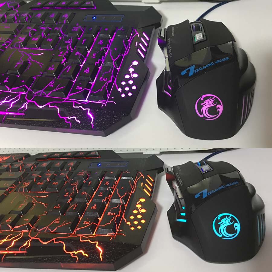 Purple Blue Red LED Breathing Backlight Pro Gaming Keyboard Mouse Combos USB Wired Full Key 5500dpi Professional Mouse Keyboard in Keyboard Mouse Combos from Computer Office