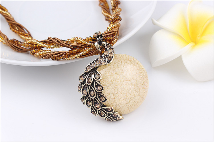 ZOSHI Blue natural crystal stone pendant necklace fashion peacock pendant necklace for women jewelry 11
