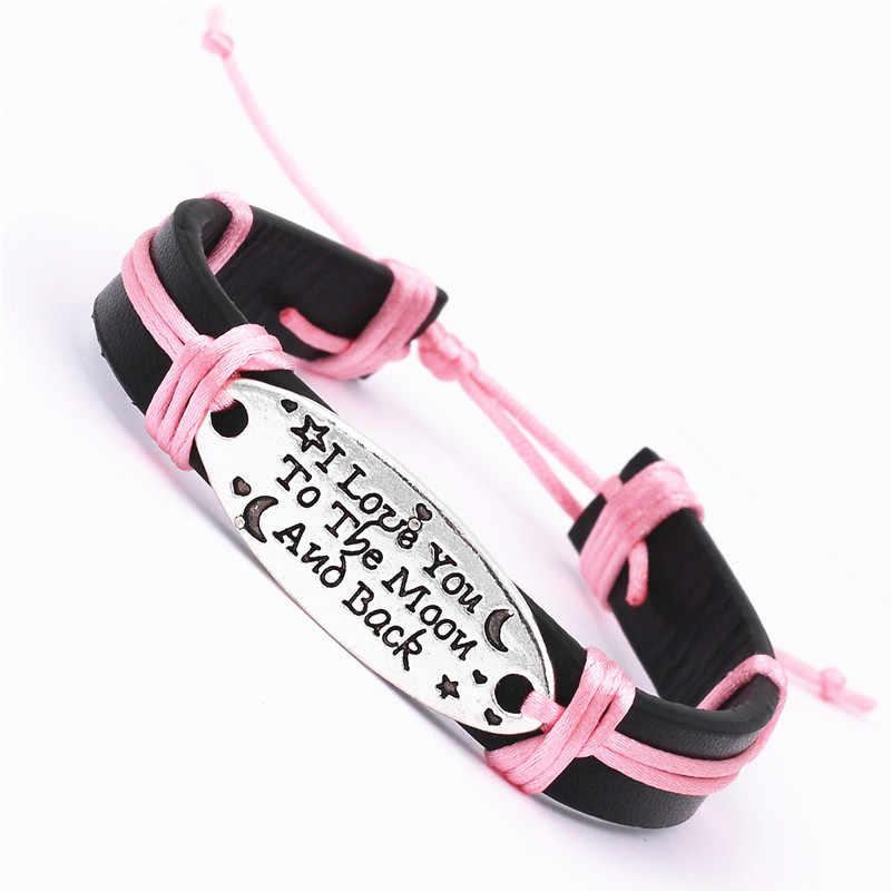 Мужские и женские винтажные браслеты с буквами I LOVE YOU TO THE MOON, черные регулируемые длинные манжеты в стиле панк, ювелирные изделия для мужчин и женщин