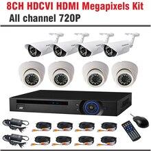 2017 New HDCVI System 720P HD 1.0MP 8CH Bullet Dome CCTV Security Camera System Kit Surveillance CCTV 8 Channel System