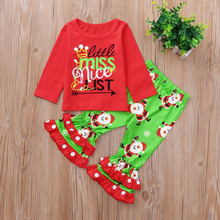 christmas outfit Toddler Long Sleeve Letter Print o-neck Tops+ Pants Clothes Kids Baby Girls clothing roupas infantis menina