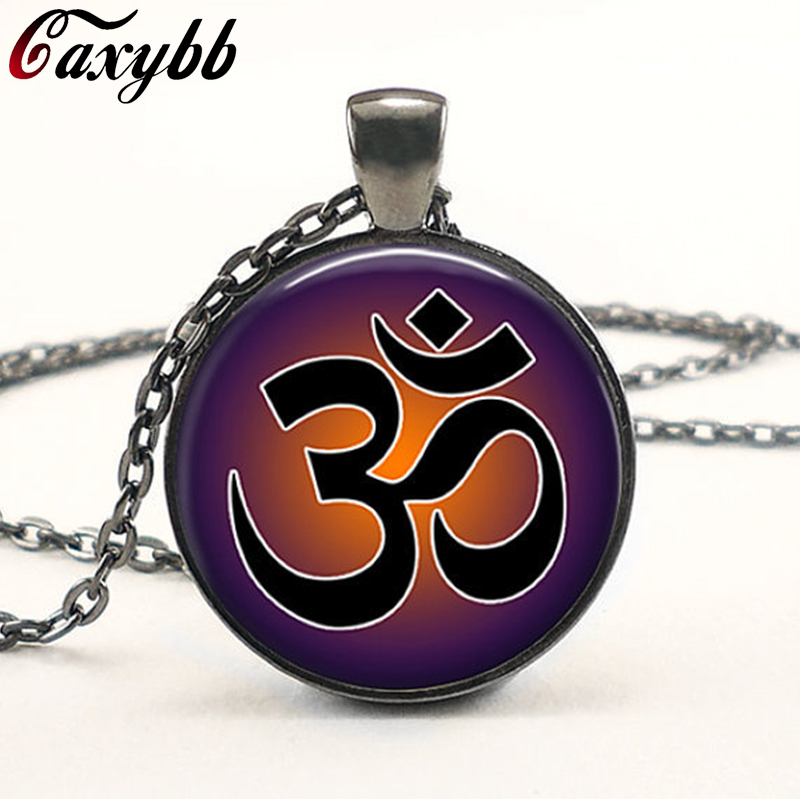 1Pcs New Lotus vintage yoga jewelry Om pendant necklace symbol Lotus Mandala Zen glass cabochon chorker necklace for women