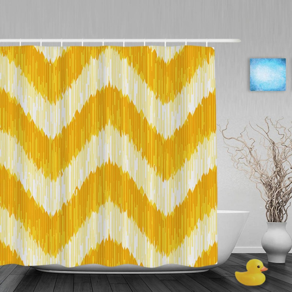 Yellow patterned curtains - Seamless Fabric Striped Pattern Bathroom Curtain Yellow Color Decor Shower Curtains Waterproof Polyester Fabric With Hooks